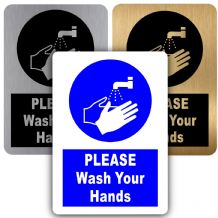 Please Wash Your Hands-Aluminium Metal Sign-150mmx100mm-Notice,Door,Warning,Health,Safety,Toilet